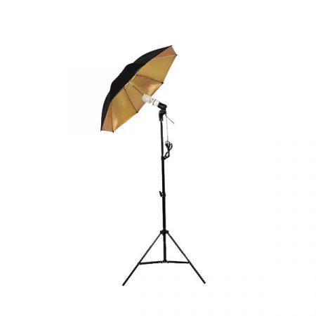 Fekete/Arany ernyős fotó stúdió világítás szett 135W
