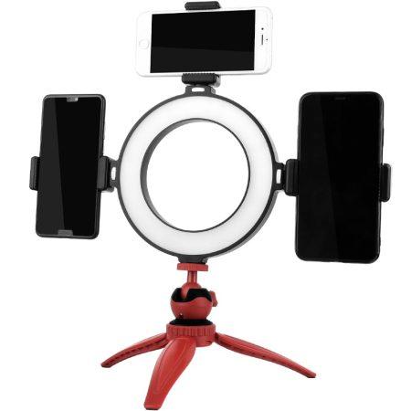 20cm LED körfény, ring light asztali állvánnyal, 3db telefontartóval USB-s
