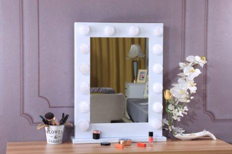 Hollywood tükör 60x80cm (DC117-6A) sminkes tükör fehér 14x3W LED sminktükör álló