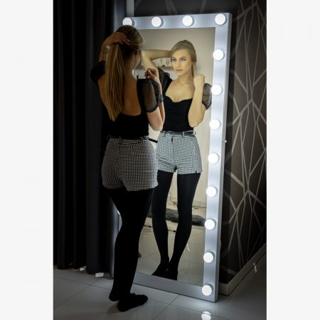 Hollywood tükör (HW-DC117-17) álló sminkes tükör fehér 20db LED izzóval, sminktükör