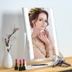 Hollywood tükör (HW-DC117-1A) sminkes tükör fehér, asztali sminktükör