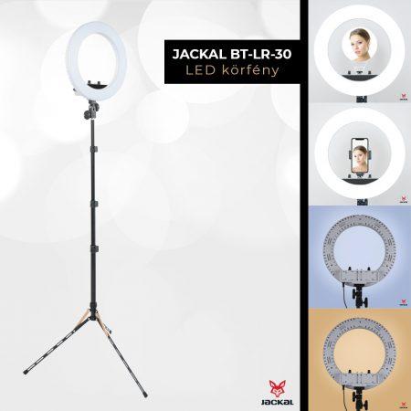 Jackal BT-LR-12 30cm LED körlámpa, körfény 3200-5500K 1.9M extra stabil állvánnyal, tükörrel
