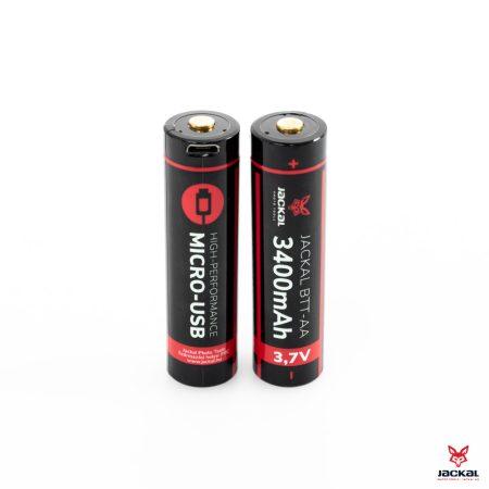 Jackal BTT 18650 méret (2DB), 3400mAh Li-ion akkumulátor, akku Micro-USB töltési lehetőséggel