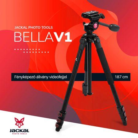 Jackal Bella V1 fényképező állvány, tripod videófejjel