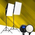 Jackal HD-48W LED softbox szett, 3200-5600K tápegységgel, NP-F akkumulátor foglalattal 2M állvánnyal