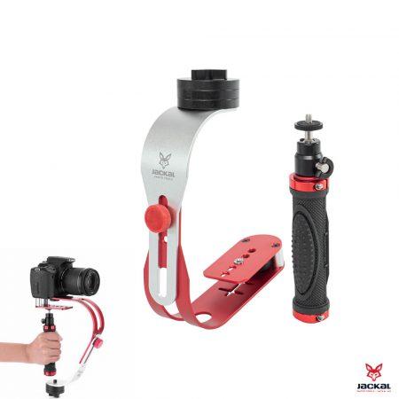 Jackal MSTB-01 kézi fényképezőgép, kamera stabilizátor piros-fekete színben