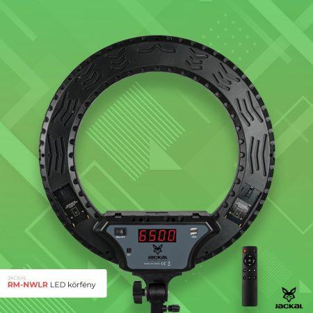 Jackal RM-NWLR fekete 45cm LED körfény, körlámpa, ring light távirányítóval
