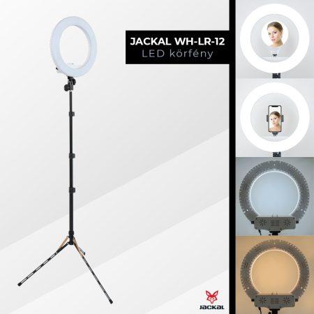 Jackal WH-LR-12 30cm LED körlámpa, körfény 3200-5500K 1.9M extra stabil állvánnyal, tükörrel