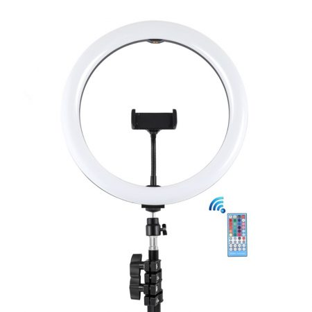 PULUZ 30cm RGB LED körlámpa, körfény ring light, 2m állvánnyal, bluetooth vezérléssel (iOS, Android) 30W
