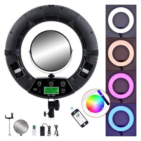 Yidoblo FC-480 RGB LED körfény, körlámpa távirányítóval, tükörrel, 2m állvánnyal