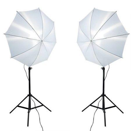 Fehér ernyős fotó stúdió világítás szett 2x135W